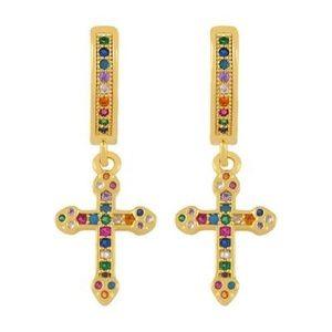 Gold Tone Multicolored Crystal Hoop Cross Earrings